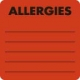 Allergy Warning Labels, ALLERGIES - Fl Red 2&#34 X 2&#34 (Roll of 250)