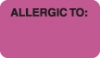 "Allergy Warning Labels, ALLERGIC TO: - Fl Pink, (B) 1-1/2"" X 7/8"" (Roll of 250)"