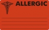 "Allergy Warning Labels, ALLERGIC - Fl Red, (I) 4"" X 2-1/2"" (Roll of 100)"