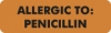 "Allergy Warning Labels, ALLERGIC TO: Penicillin - Fl Orange, 2 1/2"" X 3/4"" (Roll of 420)"
