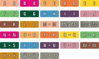 Data File Compatible Mini Alpha Labels, Laminated Stock, 7/16&#34 X 1-1/4&#34 Individual Letters - Roll of 500