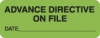 Chart Labels, ADVANCE DIRECTIVE - Fl Green, 2-1/4&#34 X 7/8&#34 (Roll of 420)