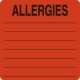 Allergy Warning Labels, ALLERGIES - Fl Red, 2-1/2&#34 X 2-1/2&#34 (Roll of 390)