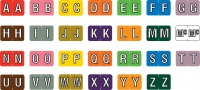 "Barkley ABKM Compatible Alpha Labels, Laminated Stock, 1"" X 1-1/2"" Individual Letters - Roll of 500"