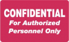 "HIPAA Labels, Confidential Authorized Personnel Only - Red, 4"" X 2.5"" (Roll of 100)"