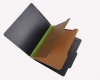 25 Pt. Fushion Black Pressboard Classification Folders, 2/5 Cut ROC Top Tab, Letter Size, 2 Dividers, Green tyvek (Box of 15)